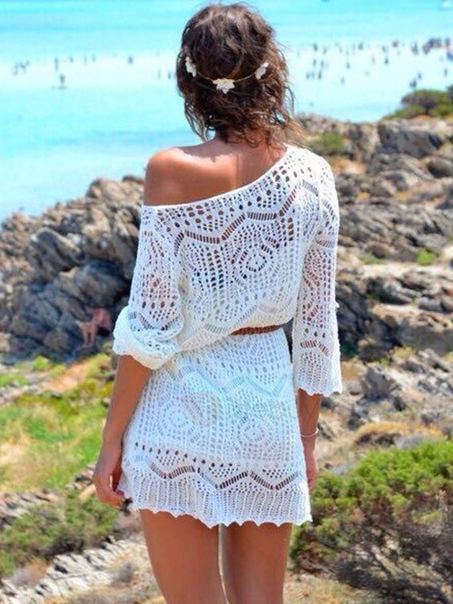 Robe dentelle blanche plage