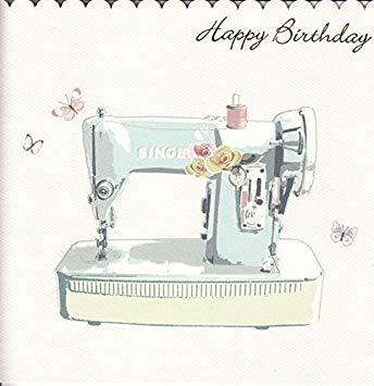 Carte anniversaire machine à coudre