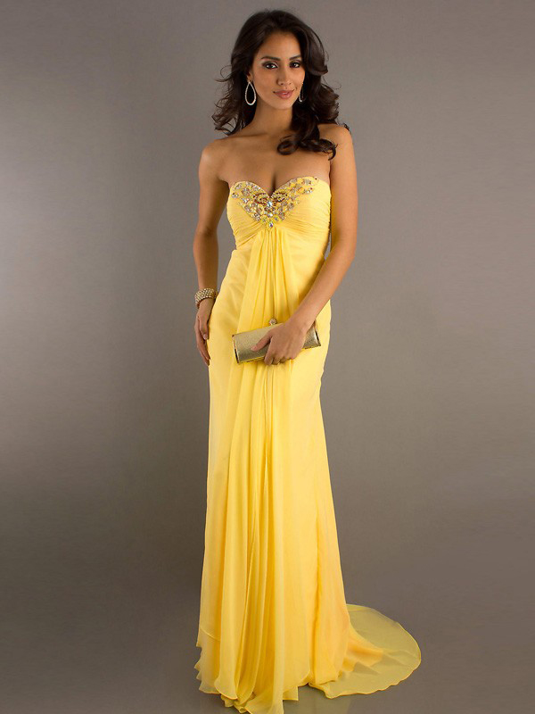 Robe de soirée jaune moutarde