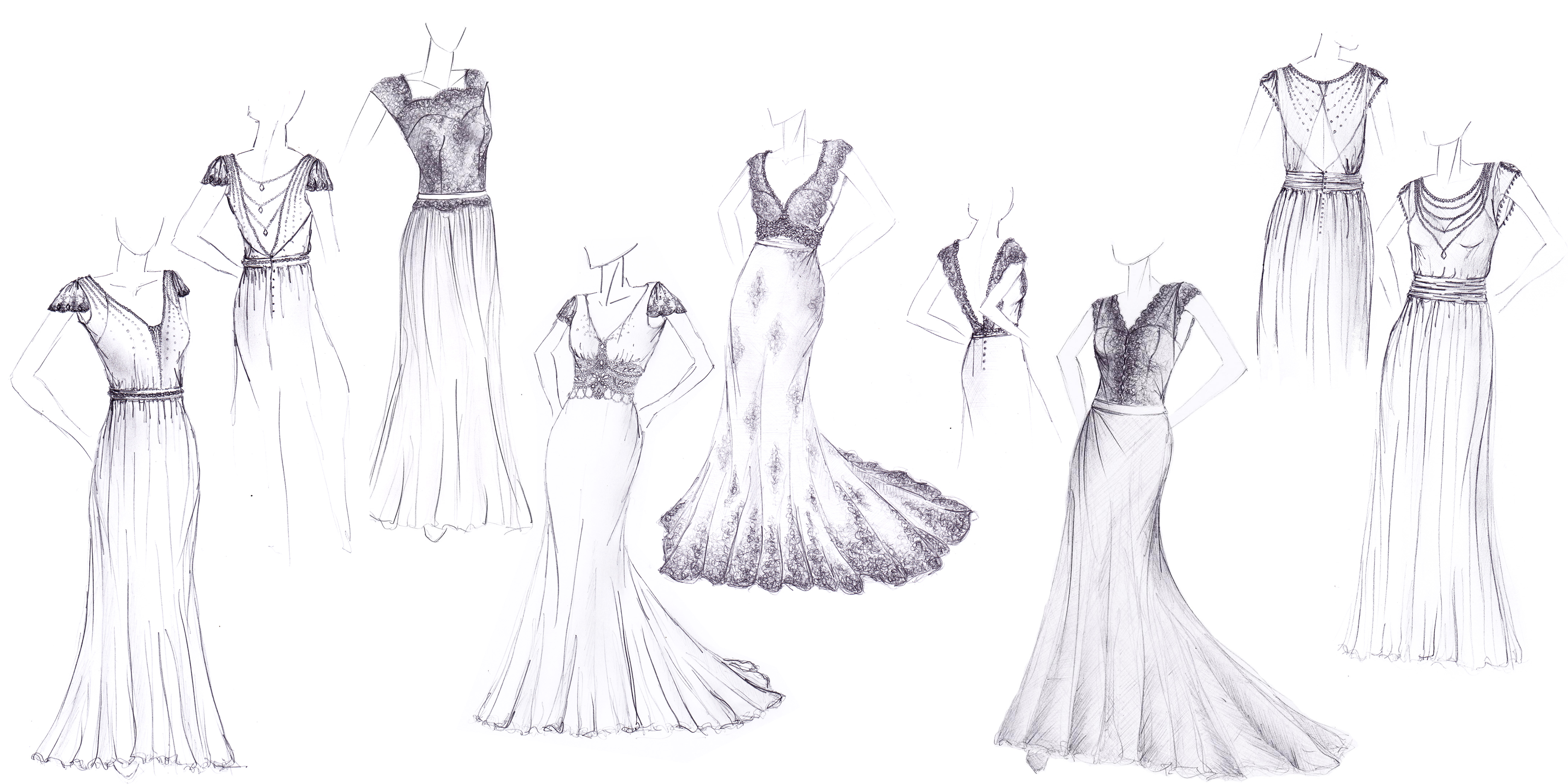 Dessin de robe de mariée